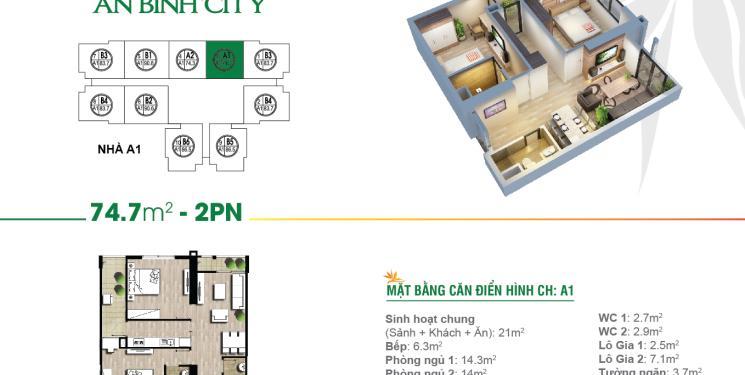 Căn 2 pn 74 m2